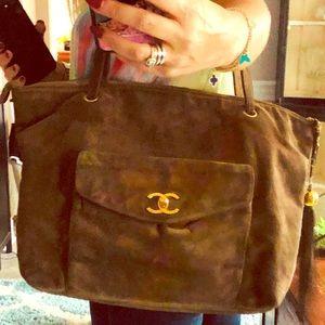 Rare vintage Chanel suede Large tote bag boho